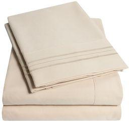 1800 Thread Count 4 Piece Deep Pocket Bedroom Bed Sheet Set King - Beige | Walmart (US)