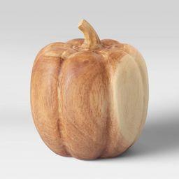 "6"" x 5.7"" Decorative Wood Pumpkin Sculpture Natural - Threshold™   Target"