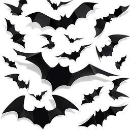 Halloween 3D Bat Decorations - 72pcs 12 Sizes Realistic PVC Scary Black Bat Sticker Home Decor DI... | Amazon (US)