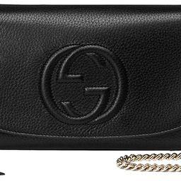 Gucci Soho Leather Flap Shoulder Bag Black Gold Tassel New Authentic | Amazon (US)