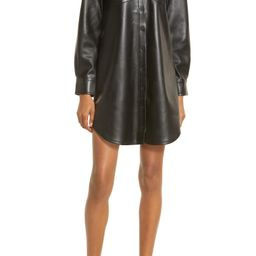 Faux Leather Long Sleeve Mini Shirtdress | Nordstrom
