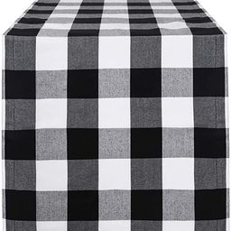 Syntus 14 x 72 inch Buffalo Check Table Runner Cotton-Polyester Blend Handmade Black and White Pl... | Amazon (US)