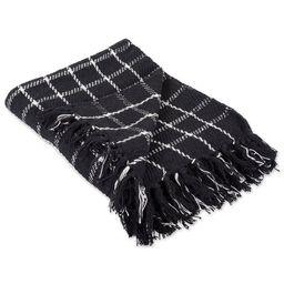 "60"" Black and White Rectangular Checkered Plaid Cotton Throw | Walmart (US)"