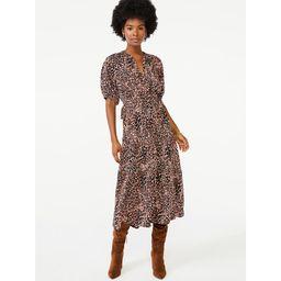 Scoop Women's Split Neck Tiered Midi Dress   Walmart (US)