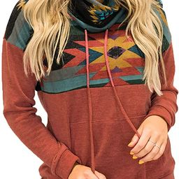 Aleumdr Women Casual Long Sleeve 1/4 Zipper Color Block Sweatshirts Stand Collar Pullover Tunic Tops | Amazon (US)