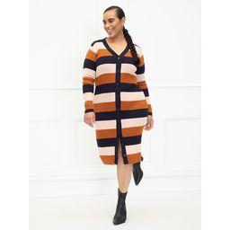 ELOQUII Elements Women's Plus Size Striped Cardigan Sweater Dress   Walmart (US)