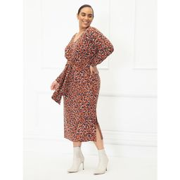 ELOQUII Elements Women's Plus Size Animal Print Midi Dress with Tie Waist   Walmart (US)