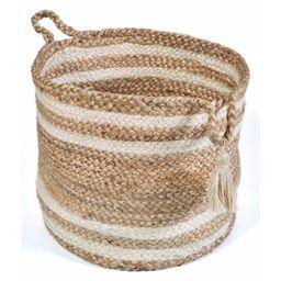 "LR Home Natural Jute 17"" x 17"" Braided Striped Decorative Storage Basket | Walmart (US)"