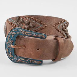 Angel Ranch Turquoise Embroidered Leather Belt | Buckle