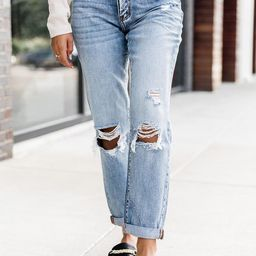 Libby Distressed Boyfriend Medium Wash Jeans | The Pink Lily Boutique
