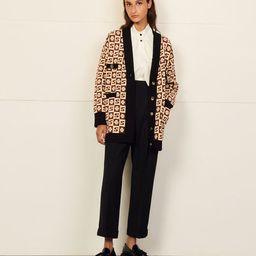 Long coatigan with jacquard pattern   Sandro Paris (US)
