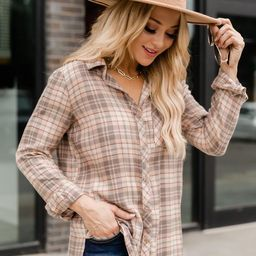 Start The Day Right Beige Plaid Flannel Blouse | The Pink Lily Boutique