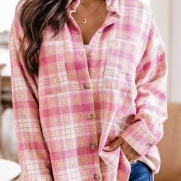Wishing On Forever Pink Plaid Shacket | The Pink Lily Boutique