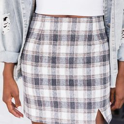 Picture Our Future White/Tan Plaid Skirt | The Pink Lily Boutique