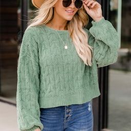 Special Reminder Sage Chenille Sweater | The Pink Lily Boutique