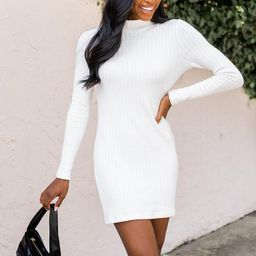 Makes Sense Ivory Textured Turtleneck Sweater Dress | The Pink Lily Boutique
