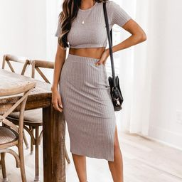 Midnight Visitor Grey Rib Knit Midi Skirt | The Pink Lily Boutique