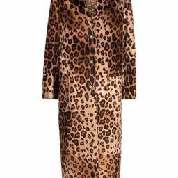 leopard-print velvet-effect coat   Farfetch (US)