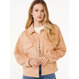 Scoop Women's Oversized Cropped Faux Suede Jacket | Walmart (US)