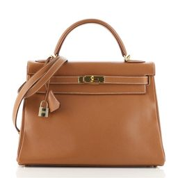 Kelly Handbag Gold Courchevel with Gold Hardware 32   Rebag