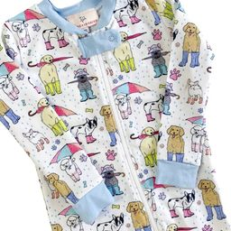 Pooches In Puddles Zip Up Pajamas with Blue Trim   Smockingbird Kids