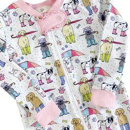 Pooches In Puddles Zip Up Pajamas with Pink Trim   Smockingbird Kids