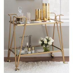Linon Gold Mid-Century Bar Cart - Walmart.com   Walmart (US)
