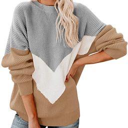 Saodimallsu Womens Oversized Batwing Sleeve Sweaters Chevron Color Block Slouchy Loose Knit Pullo... | Amazon (US)