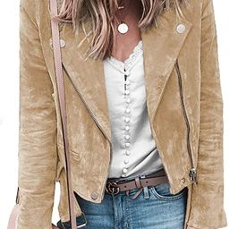 Blibea Women's Zipped Notch Collar Moto Biker Jacket Casual Short Coat Outwear   Amazon (US)