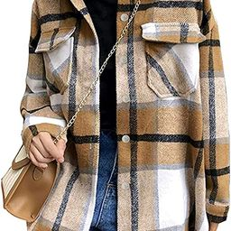 Tanming Womens Brushed Flannel Plaid Lapel Button Short Pocketed Shacket Shirts Coats   Amazon (US)