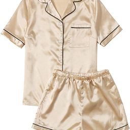 SweatyRocks Women's Short Sleeve Sleepwear Button Down Satin 2 Piece Pajama Set   Amazon (US)