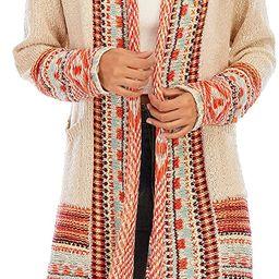 CGYY Women's Retro Style Hippie Pattern Long Tassel Cardigan Southwest US Boho Sweaters Aztec Car... | Amazon (US)