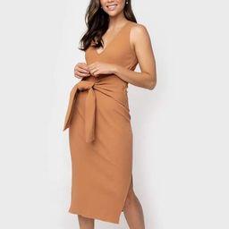 Sleeveless V-Neck Tie Waist Dress with Side Slits | Gibson