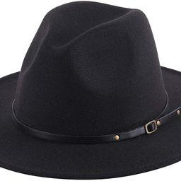 Lanzom Women Lady Retro Wide Brim Floppy Panama Hat Belt Buckle Wool Fedora Hat | Amazon (US)