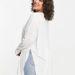 ASOS DESIGN Curve top with side slits and long sleeve in clean rib in white | ASOS (Global)