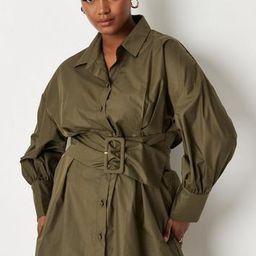 Plus Size Khaki Poplin Belted Shirt Dress | Missguided (US & CA)