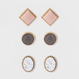 SUGARFIX by BaubleBar Druzy Stud Earring Set 3pc - Pink | Target