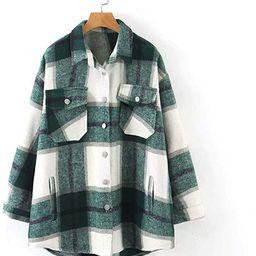 SLLSKY Womens Wool Blend Plaid Lapel Button Short Shacket Shirts Coats | Amazon (US)