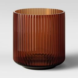 "5.5"" x 5.5"" Ribbed Glass Vase Amber - Threshold™ | Target"