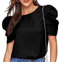 Floerns Women's Round Neck Short Puff Sleeve Keyhole Back Blouse Tops | Amazon (US)