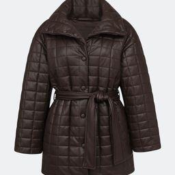 Belted Faux Leather Box Quilt Jacket   Verishop