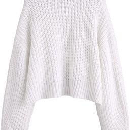 SheIn Women's Mock Neck Drop Shoulder Oversized Batwing Sleeve Crop Top Sweater | Amazon (US)