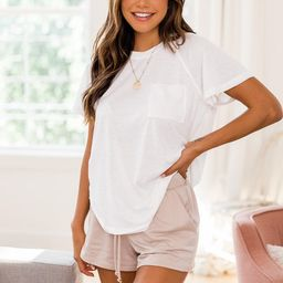 Lively Spirit White Scoopneck Pocket Tee | The Pink Lily Boutique