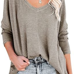 ANRABESS Women's Causal Off Shoulder Waffle Knit Shirt V-Neck Batwing Sleeve Pullover Curved Hem ... | Amazon (US)