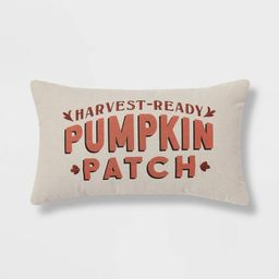 Chambray Printed and Embroidered Pumpkin Patch Lumbar Throw Pillow | Target