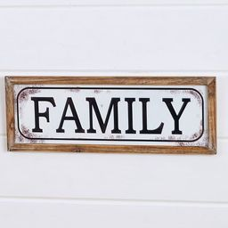"""Lakeside Enamel Look 22"""" Wall Hanging Plaque with Family Sentiment Text 