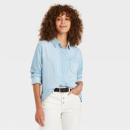 Women's Long Sleeve Denim Button-Down Shirt - Universal Thread™ Blue | Target