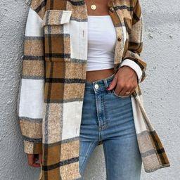 Plaid Print Flap Pocket Drop Shoulder Wool-Mix Fabric Overcoat | SHEIN