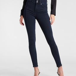 High Waisted Dark Wash Seamed Skinny Jeans   Express