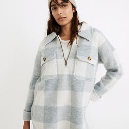 Boiled Wool Half-Zip Popover Sweater in Buffalo Check | Madewell